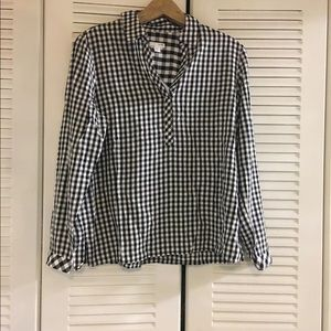 J.JIll Checker Plaid Black White Rayon Shirt SP